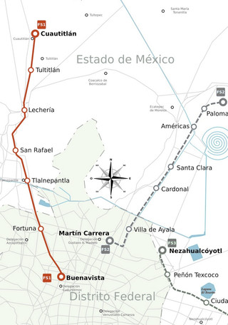 Carte du reseau de train de banlieue de Mexico